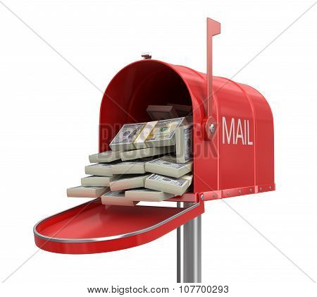 Open mailbox with dollars (clipping path included)