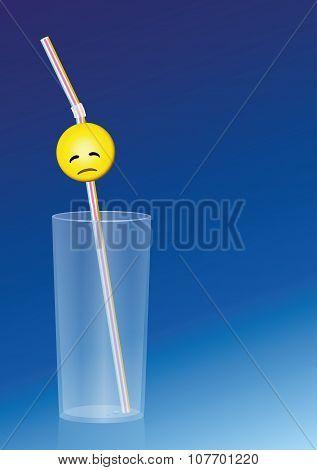 Empty Glass Weary Straw
