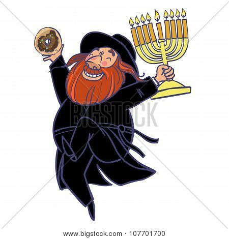 Hasid Dancing With Donuts