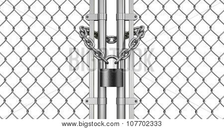 lock on fence (clipping path included)
