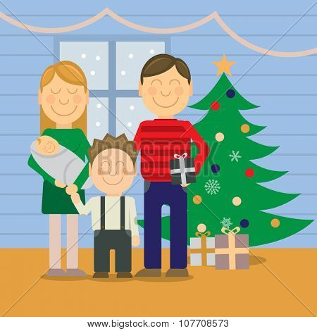 Happy family at christmas, vector illustration