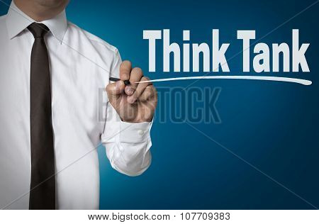 Think Tank Is Written By Businessman Background Concept