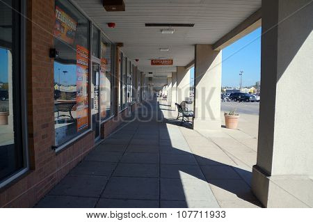 Walkway of a Strip Mall