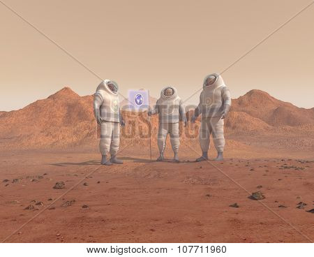 Humans conquering a planet