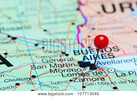 Lomas de Zamora pinned on a map of Argentina