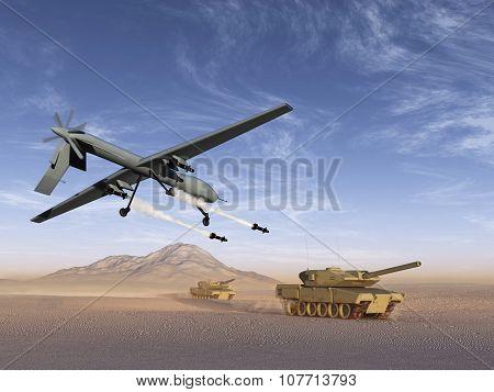 Drone attack battle tanks