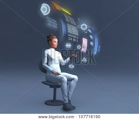 Woman using a holographic computer
