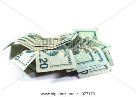 a pile of twenty dollar bills over white background poster