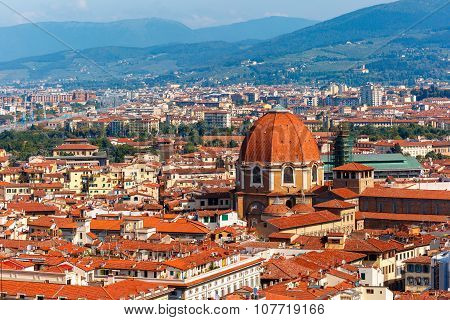 City rooftops and Medici Chapel in Florence, Italy