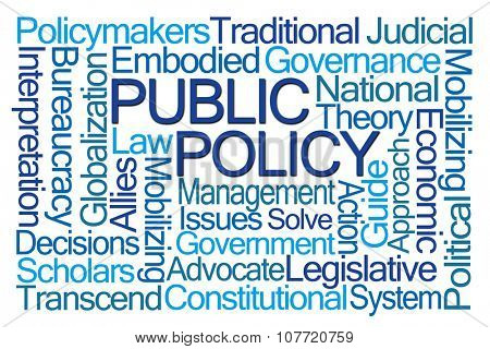 Public Policy Word Cloud on White Background poster