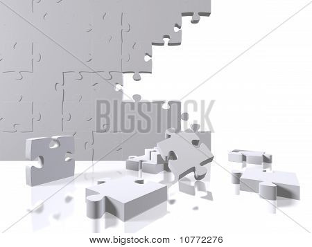 Puzzle pieces on a white background