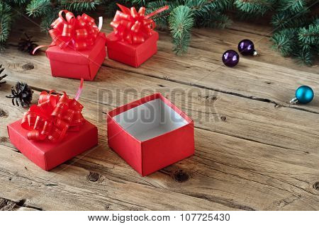 Christmas Present On A Wooden Table