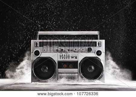 1980S Silver Retro Ghetto Blaster And Dust Isolated On Black With Clipping Path