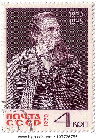Ussr - Circa 1970: A Stamp Printed In Ussr Shows Portrait Friedrich Engels, Series, Circa 1970