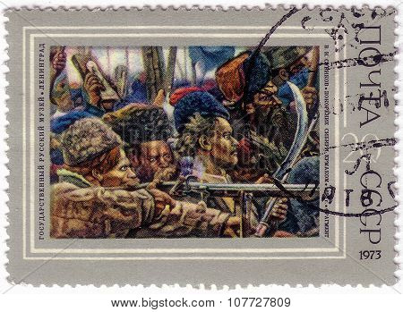 Ussr - Circa 1973: A Stamp Printed By Ussr Shows A Picture Of The Conquest Of Siberia By Yermak, By