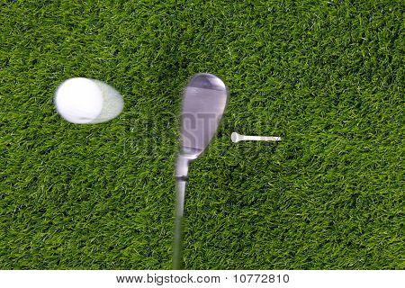 Golf Tee Shot With Iron