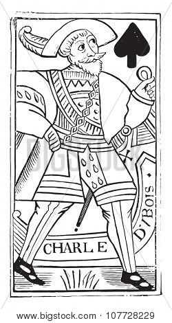 Jack of Spades, old French map Charles Dubois, the sixteenth century, (National Library in Paris, prints practice), vintage engraved illustration. Industrial encyclopedia E.-O. Lami - 1875.