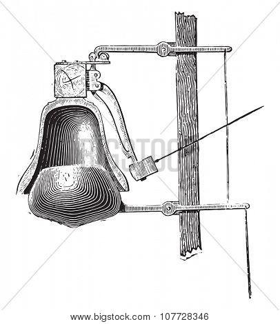 Chime damper, vintage engraved illustration. Industrial encyclopedia E.-O. Lami - 1875.