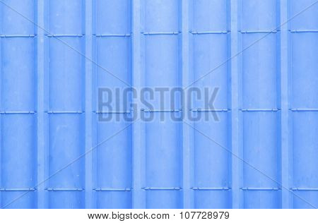 Pattern of blue metal sheet roof for background.