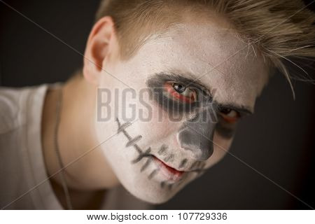 Young Man In Halloween Makeup