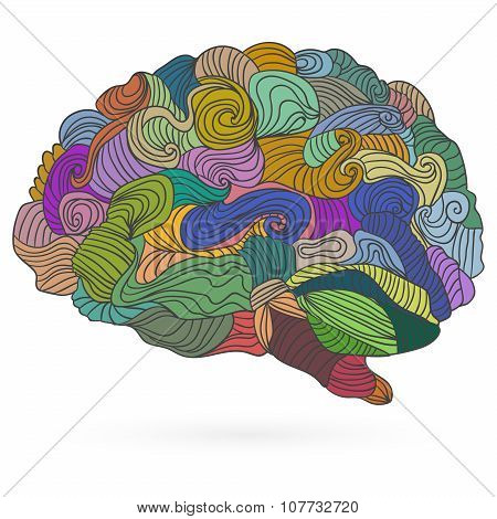 Man's brain, vector flat illustration