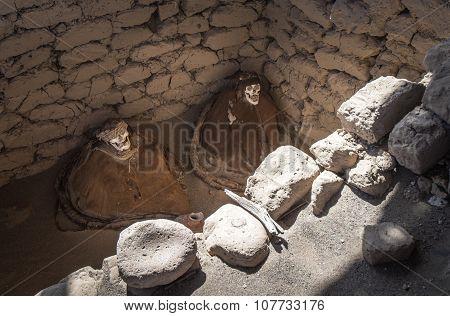 Chauchilla Cemetery with prehispanic mummies in Nazca desert Peru poster