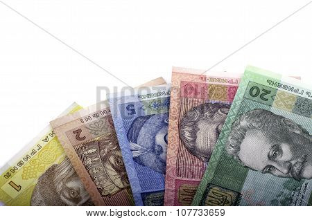 Bills Nominal Value Of Twenty-hryvnia, Ten Hryvnia, Five Hryvnia, Two Hryvnia, One Hryvnia, White Ba