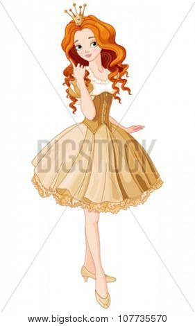 Illustration of beautiful princess dressed gold gown