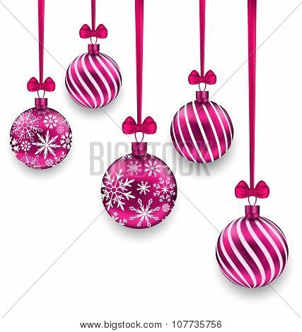 Christmas Pink Glassy Balls with Bow Ribbon