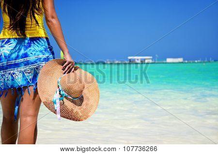 Beautiful Woman Enjoying Her Vacantion On The Tropical Beach