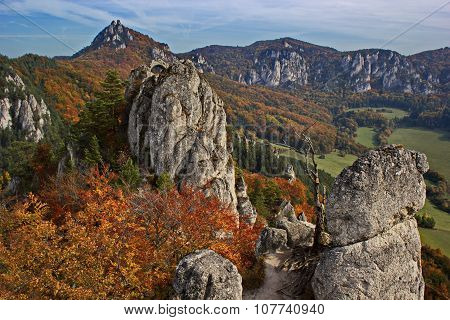 colorful rocky land in the middle of autumn, Slovakia