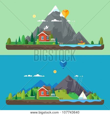 Preview Stock Vector Illustration: Vector flat illustration - House at the lake. House in the mountains. Wild nature. Ecotourism