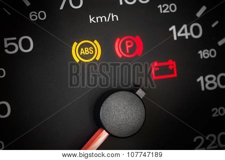 Abs Light. Car Dashboard In Closeup