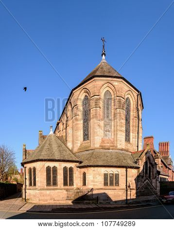 Facade of a beautiful church in bright daylight. The church is situated in Chester a historic town in Cheshire United Kingdom.