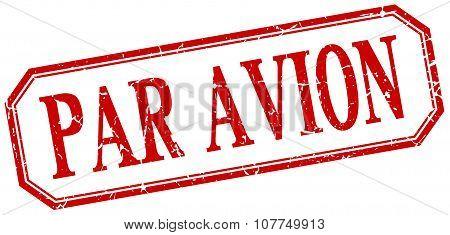 Par Avion Square Red Grunge Vintage Isolated Label