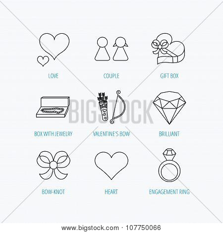 Love heart, brilliant and engagement ring icons. Bow, couple and gift box linear signs. Valentine amour arrows flat line icons. Linear set icons on white background. poster