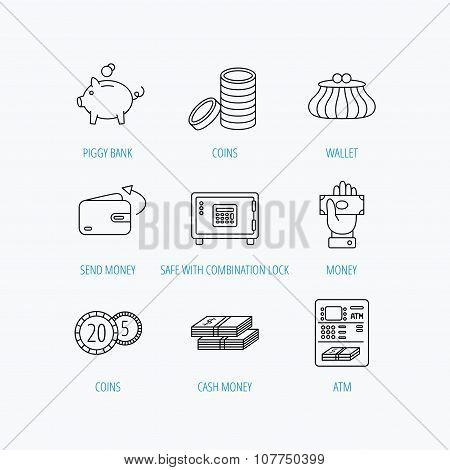 Piggy bank, cash money and wallet icons. Safe box, send money and dollar usd linear signs. Give money, coins and ATM icons. Linear set icons on white background. poster