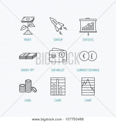 Profit investment, cash money and startup rocket icons. Wallet, currency exchange and euro linear signs. Chart, coins and statistics icons. Linear set icons on white background. poster