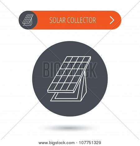 Solar collector icon. Sunlight energy battery.
