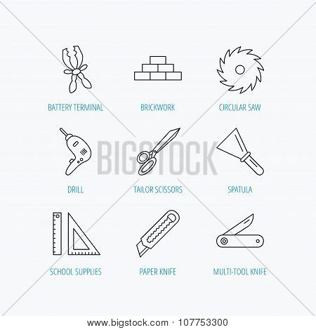 Paper knife, spatula and scissors icons.