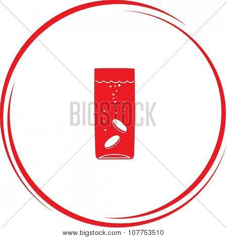 glass with tablets. Internet button. Vector icon.