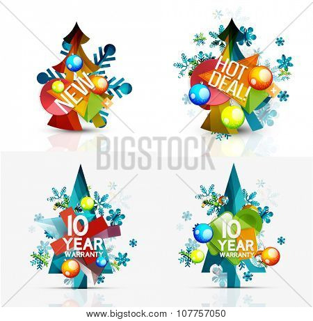 Set of Christmas sale or promotion price tags, New Year tree with labels and your message. Vector illustration