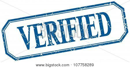Verified Square Blue Grunge Vintage Isolated Label