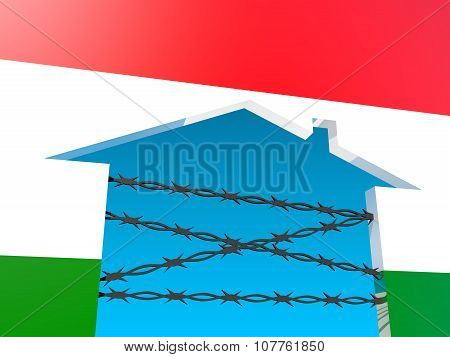 barbed wire closed home icon textured by hungary flag