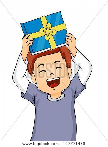 Illustration of a Little Boy Showing His Gift Happily