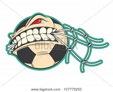 Angry Football, Soccer Ball Sticker Vector Concept