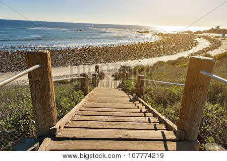 Stairs down to the ocean in Malibu