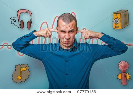 businessman man put his fingers in his ears and winced sound wav