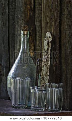 Still Life - Old Bottle, Glass, Doorhandle
