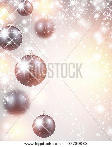New Year flicker background with balls. Vector Illustration.